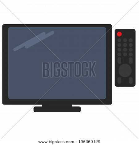 Television and tv remote vector illustration. Flat style design. Colorful graphics