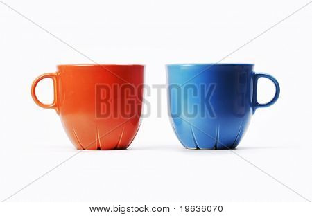 Isolated red and blue cups on white background (twosome)