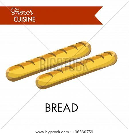 Tasty long bread from French cuisine. Delicious baguette made of best dough isolated vector illustration. Common type of bread in France that has oblong shape and usually sprinkled with sesame seeds.