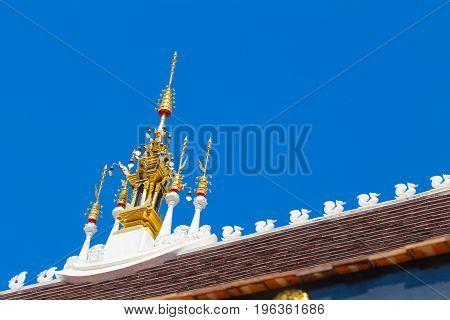 Beautiful Thai Lanna Temple Architecture: Chapel Roof Of Wat Inthakhin Sadue Muang, Chiangmai, Thail