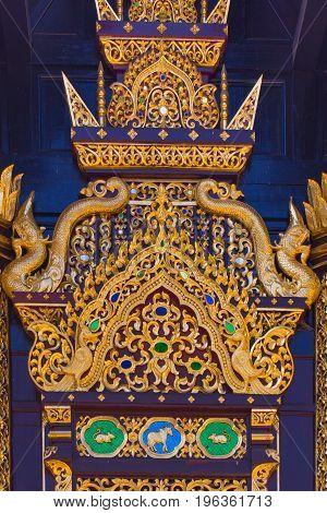 Beautiful Golden Thai Lanna Architecture: Chapel Roof Of Wat Inthakhin Sadue Muang, Chiangmai, Thail