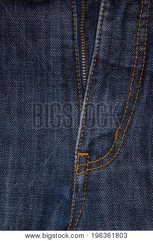 closeup denim Blue Jeans Crotch with Zip.