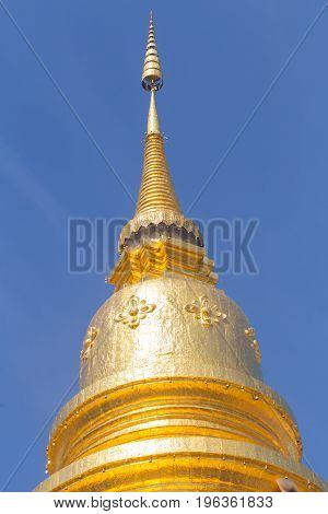 Thai Golden Pagoda Wat Phrathat Hariphunchai Woramaha Vihan, Lamphun, Thailand.