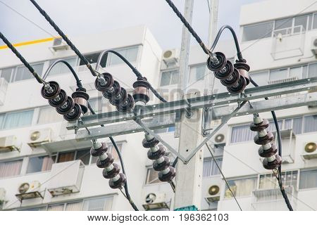 Ceramic Electrical insulator outdoor hight voltage protection.