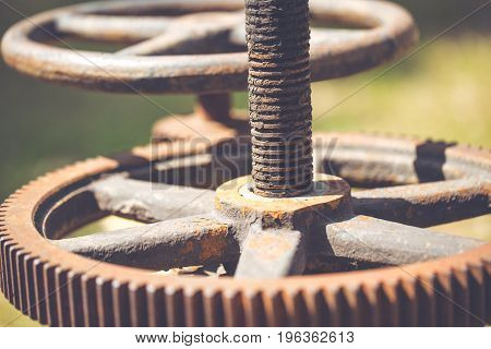 Rusty Gear And Chain, Old Heavy Engine With Rust Stain