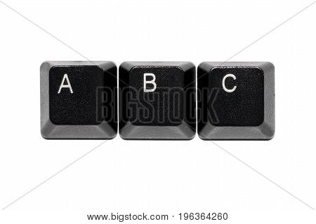 black computer keyboard letters a b c keys on white background
