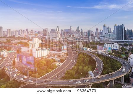 Aerial view Bangkok city aerial view over highway intersection downtown skyline Thailand cityscape background