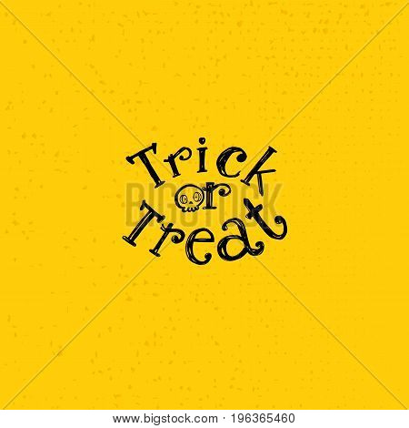 Trick or treat sketch logo with skull. Hand drawn Halloween lettering on bright background. This illustration can be used as a greeting card, poster, print or party emblem