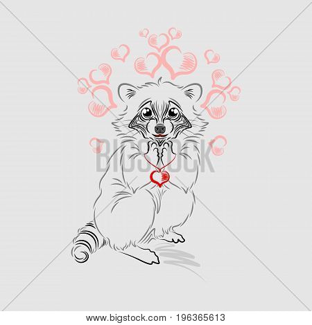 The enamored raccoon holds a pendant in the form of a heart.