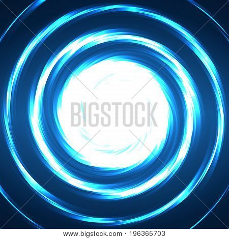 Abstract technology circles glowing spiral neon style. Vector illustration. Eps 10