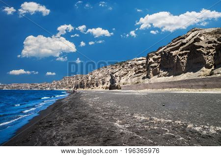 Greek black sand beach in Santorini. Greek black and white sand beach in Santorini