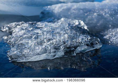 Close up Ice melting on the lake beautiful natural landscape background