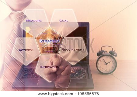 Double exposure of Man hand pressing on business key. Strategy concept.