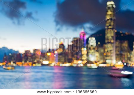 Beautiful Hong Kong city blurred bokeh light seafront abstract background