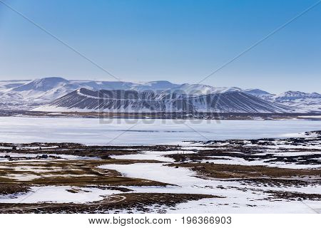 Iceland Myvant Volcano mountain in winter season natural landscape background