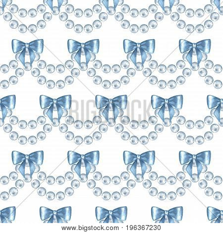 Seamless pattern with pearls. Watercolor illustration. Jewelry border with bows