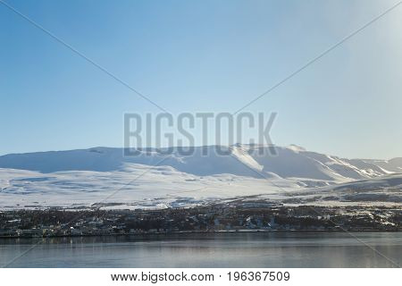Mountain snow covered with clear blue sky background Iceland natural landscape background