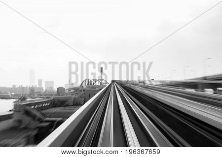 Abstract moving train track black and white tone abstract background