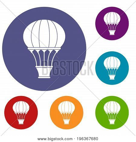 Hot air balloon with basket icons set in flat circle red, blue and green color for web