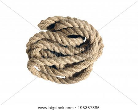 rope made of coarse hemp.  isolate on white background without shadows. easy to cut for your project.