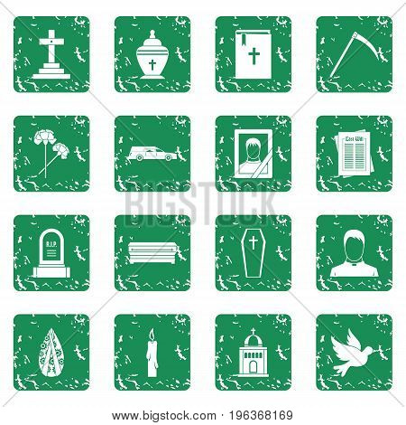 Funeral icons set in grunge style green isolated vector illustration