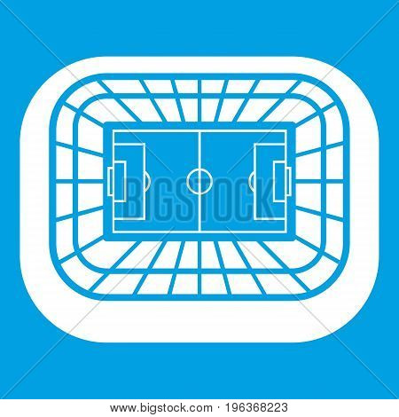 Stadium top view icon white isolated on blue background vector illustration