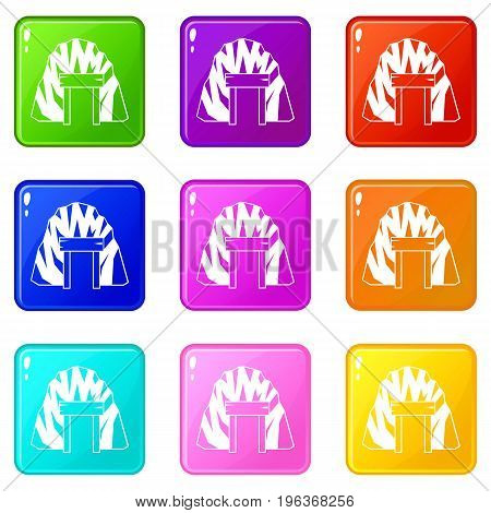 Mine in mountain icons of 9 color set isolated vector illustration
