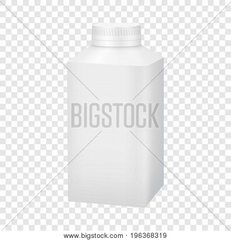 White blank plastic bottle with cap mockup. Realistic illustration of white blank plastic bottle with cap vector mockup for web