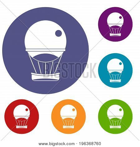 Aerostat balloon icons set in flat circle red, blue and green color for web