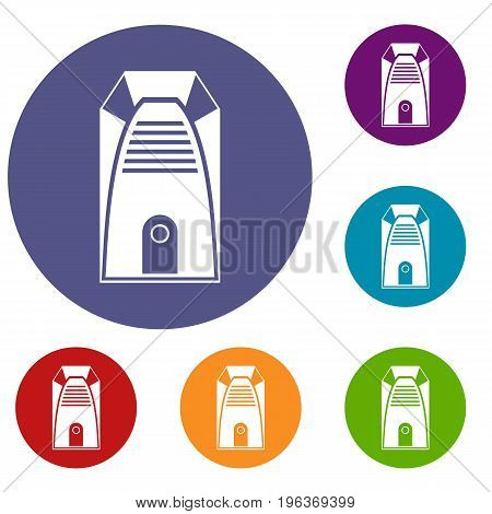 Modern electric home heater icons set in flat circle red, blue and green color for web