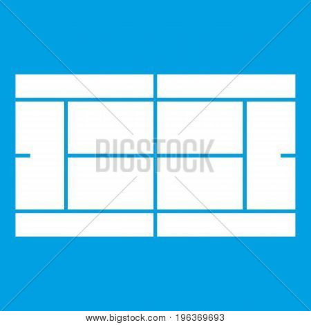 Tennis court icon white isolated on blue background vector illustration