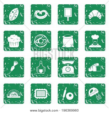 Bakery icons set in grunge style green isolated vector illustration