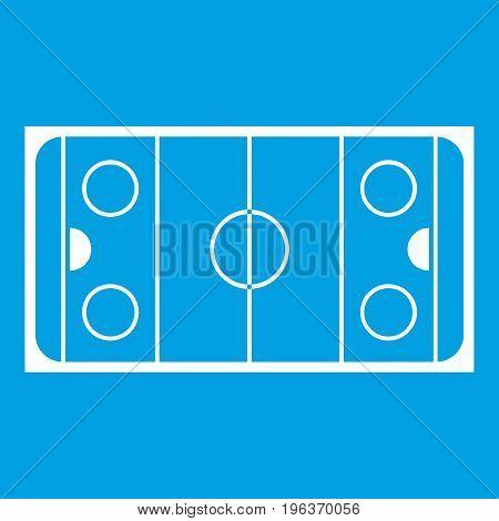 Ice hockey rink icon white isolated on blue background vector illustration