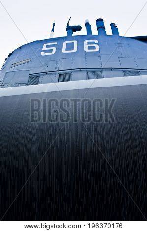 detail of a submarine in a museum of milan