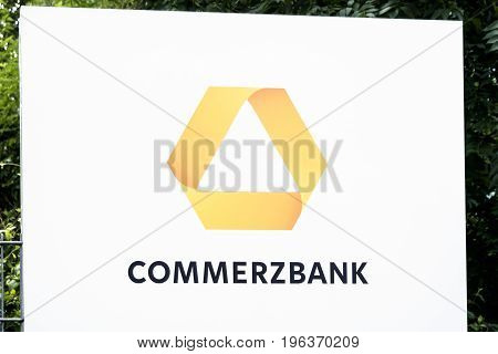HAMBURG , GERMANY - JULY 13 2017: Commerzbank AG is a global banking and financial services company founded in 1870 with it's headquarter in Frankfurt, Germany