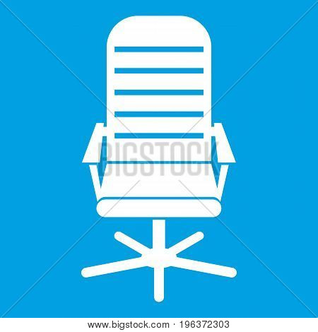 Office chair icon white isolated on blue background vector illustration