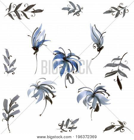 Watercolor and ink illustration of blue flowers. Sumi-e u-sin painting.