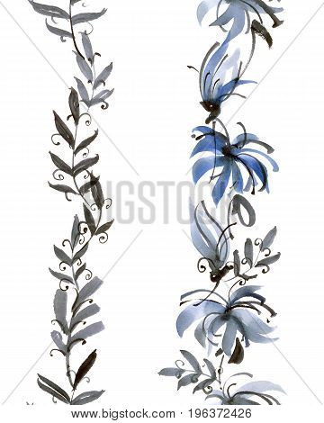 Watercolor and ink illustration of blue flowers. Sumi-e u-sin painting. Seamless pattern.