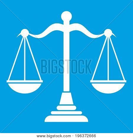 Balance scale icon white isolated on blue background vector illustration