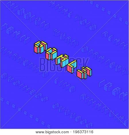 Isometric Text Effect Goals Purple Concept Design 3D Flat Colorful