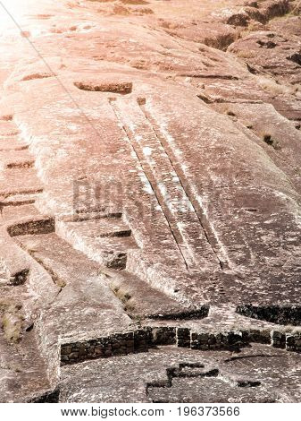 El Fuerte de Samaipata. Close-up view of mystical rock carvings in Pre-Columbian archaeological site, Bolivia, South America. UNESCO World Heritage Site.