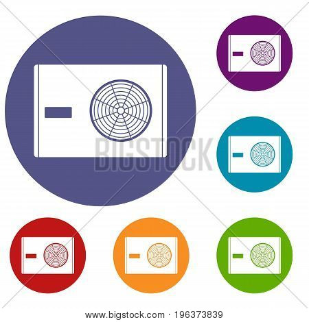 Outdoor compressor of air conditioner icons set in flat circle red, blue and green color for web