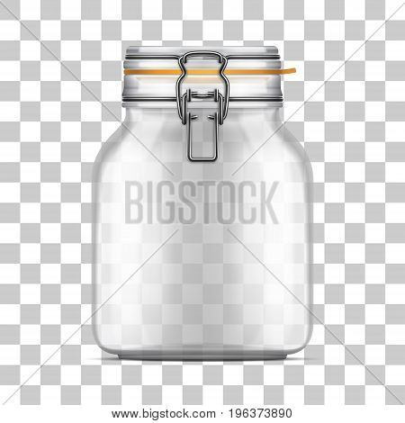 Vector empty Swing Top Bale Jar with a rubber gasket isolated on transparent background. Realistic illustration.