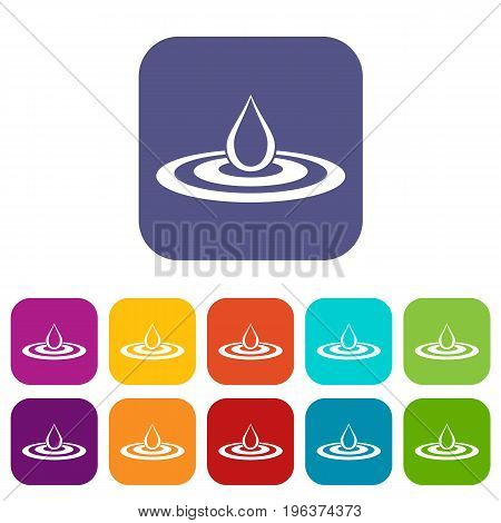 Water drop and spill icons set vector illustration in flat style in colors red, blue, green, and other