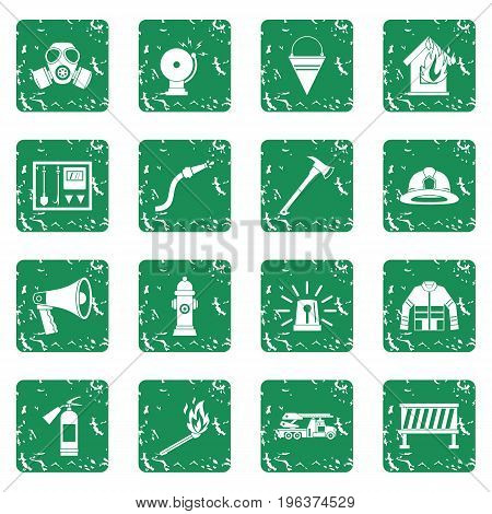 Fireman tools icons set in grunge style green isolated vector illustration