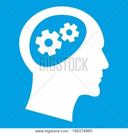 Gear in head icon white isolated on blue background vector illustration
