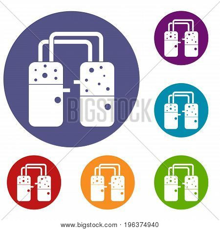Containers connected with tubes icons set in flat circle red, blue and green color for web