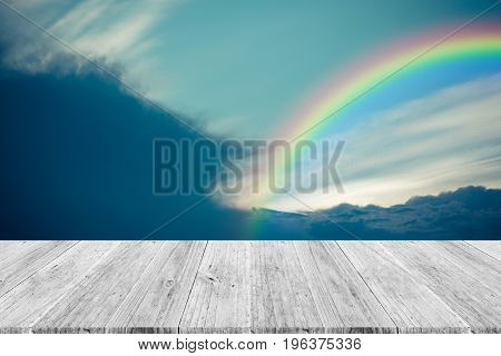 Blue Sky Cloud With Wood Terrace And Rainbow , Process In Vintage Style