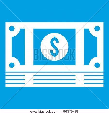 Stack of money icon white isolated on blue background vector illustration