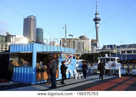 Auckland City Skyline From Viaduct Marina